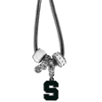 Michigan St. Spartans Euro Bead Necklace - Siskiyou Gifts has combined the wildly popular Euro style beads with your favorite team to create a Michigan St. Spartans Euro Bead Necklace. The Michigan St. Spartans Euro Bead Necklace features an 18 inch snake chain and features 4 Euro beads with enameled team colors and rhinestone accents with a high polish, nickel free charm and rhinestone charm. Michigan St. Spartans Euro Bead Necklace is a perfect way to show off your team pride. Thank you for shopping with CrazedOutSports.com