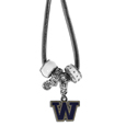 Washington Huskies Euro Bead Necklace - We have combined the wildly popular Euro style beads with your favorite team to create our Washington Huskies bead necklace. The 18 inch snake chain features 4 Euro beads with enameled team colors and rhinestone accents with a high polish, nickel free charm and rhinestone charm. Perfect way to show off your team pride. Thank you for shopping with CrazedOutSports.com