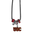 USC Trojans Euro Bead Necklace - We have combined the wildly popular Euro style beads with your favorite team to create our USC Trojans bead necklace. The 18 inch snake chain features 4 Euro beads with enameled team colors and rhinestone accents with a high polish, nickel free charm and rhinestone charm. Perfect way to show off your team pride. Thank you for shopping with CrazedOutSports.com