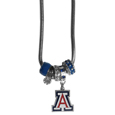 Arizona Wildcats Euro Bead Necklace - We have combined the wildly popular Euro style beads with your favorite team to create our Arizona Wildcats bead necklace. The 18 inch snake chain features 4 Euro beads with enameled team colors and rhinestone accents with a high polish, nickel free charm and rhinestone charm. Perfect way to show off your team pride. Thank you for shopping with CrazedOutSports.com