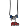 Mississippi Rebels Euro Bead Necklace - Combined the wildly popular Euro style beads with your favorite team to create a Mississippi Rebels Euro Bead Necklace. The Mississippi Rebels Euro Bead Necklace 18 inch snake chain features 4 Euro beads with enameled team colors and rhinestone accents with a high polish, nickel free charm and rhinestone charm. Mississippi Rebels Euro Bead Necklace is the perfect way to show off your team pride. Thank you for shopping with CrazedOutSports.com