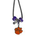 Clemson Tigers Euro Bead Necklace - We have combined the wildly popular Euro style beads with your favorite team to create our Clemson Tigers bead necklace. The 18 inch snake chain features 4 Euro beads with enameled team colors and rhinestone accents with a high polish, nickel free charm and rhinestone charm. Perfect way to show off your team pride. Thank you for shopping with CrazedOutSports.com