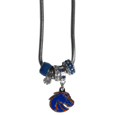 Boise St. Broncos Euro Bead Necklace - We have combined the wildly popular Euro style beads with your favorite team to create our Boise St. Broncos bead necklace. The 18 inch snake chain features 4 Euro beads with enameled team colors and rhinestone accents with a high polish, nickel free charm and rhinestone charm. Perfect way to show off your team pride. Thank you for shopping with CrazedOutSports.com