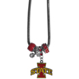 Iowa St. Cyclones Euro Bead Necklace - We have combined the wildly popular Euro style beads with your favorite team to create our Iowa St. Cyclones bead necklace. The 18 inch snake chain features 4 Euro beads with enameled team colors and rhinestone accents with a high polish, nickel free charm and rhinestone charm. Perfect way to show off your team pride. Thank you for shopping with CrazedOutSports.com