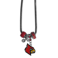 Louisville Cardinals Euro Bead Necklace - We have combined the wildly popular Euro style beads with your favorite team to create our Louisville Cardinals euro bead necklace. The 18 inch snake chain features 4 Euro beads with enameled team colors and rhinestone accents with a high polish, nickel free charm and rhinestone charm. Perfect way to show off your team pride. Thank you for shopping with CrazedOutSports.com