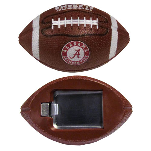 "Alabama Crimson Tide Bottle Opener Magnet - Our Alabama Crimson Tide bottle opener magnet are 3.5"" 3D football magnets with bottle openers. The football replica magnets keep a bottle opener in handy while showing off your Alabama Crimson Tide team pride! Thank you for shopping with CrazedOutSports.com"