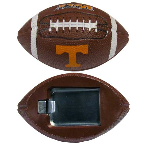 "Tennessee Bottle Opener Magnet - Our footballer bottle opener magnets are 3.5"" 3D football magnets with bottle openers. The football replica magnets keep a bottle opener in handy while showing off your team pride! Thank you for shopping with CrazedOutSports.com"