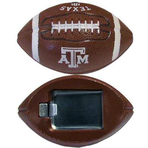 "Texas A and M  Bottle Opener Magnet - Our footballer bottle opener magnets are 3.5"" 3D football magnets with bottle openers. The football replica magnets keep a bottle opener in handy while showing off your team pride! Thank you for shopping with CrazedOutSports.com"