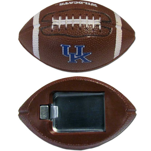 "Kentucky Bottle Opener Magnet - Our footballer bottle opener magnets are 3.5"" 3D football magnets with bottle openers. The football replica magnets keep a bottle opener in handy while showing off your team pride! Thank you for shopping with CrazedOutSports.com"