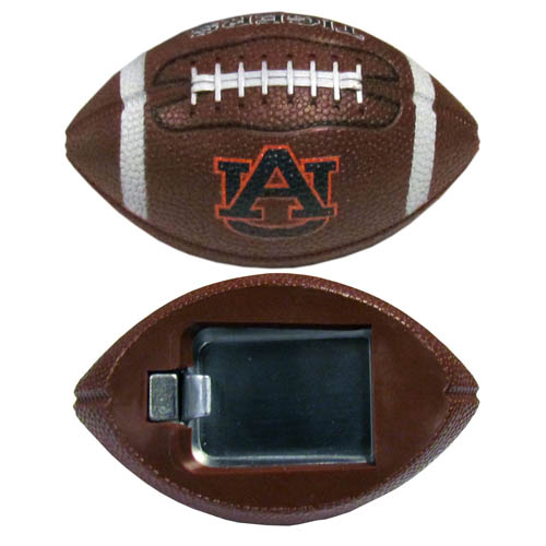 "Auburn Bottle Opener Magnet - Our footballer bottle opener magnets are 3.5"" 3D football magnets with bottle openers. The football replica magnets keep a bottle opener in handy while showing off your Auburn Tigers team pride! Thank you for shopping with CrazedOutSports.com"