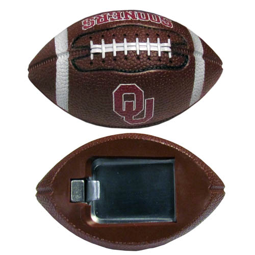 "Oklahoma Bottle Opener Magnet - Our footballer bottle opener magnets are 3.5"" 3D football magnets with bottle openers. The football replica magnets keep a bottle opener in handy while showing off your team pride! Thank you for shopping with CrazedOutSports.com"