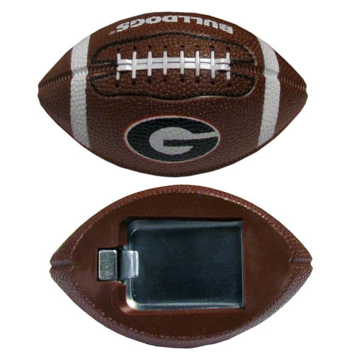 "Georgia Bulldogs Football Bottle Opener Magnet - These Georgia Bulldogs football bottle opener magnets are 3.5"" 3D football magnets with bottle openers. The football replica magnets keep a bottle opener in handy while showing off your team pride! Thank you for shopping with CrazedOutSports.com"