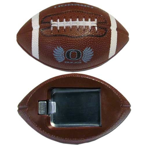 """Oregon Bottle Opener Magnet - Our footballer bottle opener magnets are 3.5"""" 3D football magnets with bottle openers. The football replica magnets keep a bottle opener in handy while showing off your team pride! Thank you for shopping with CrazedOutSports.com"""
