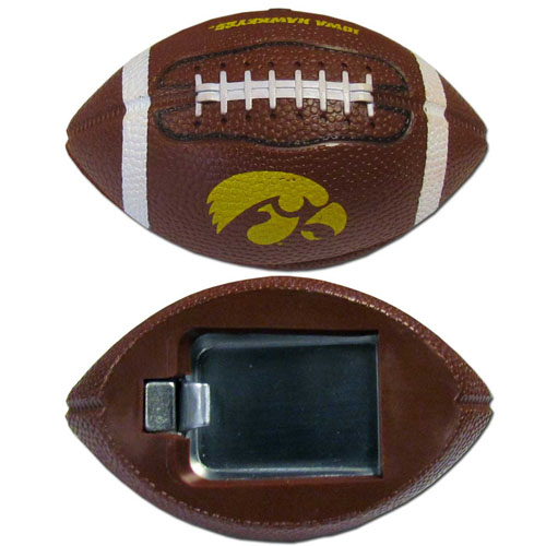 "Iowa Hawkeyes Bottle Opener Magnet - These football Iowa Hawkeyes bottle opener magnets are 3.5"" 3D football magnets with bottle openers. The football replica magnets keep a bottle opener in handy while showing off your team pride! Thank you for shopping with CrazedOutSports.com"