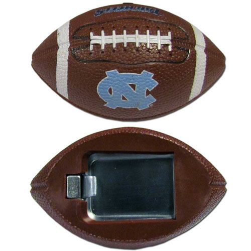 "N. Carolina Bottle Opener Magnet - Our footballer bottle opener magnets are 3.5"" 3D football magnets with bottle openers. The football replica magnets keep a bottle opener in handy while showing off your team pride! Thank you for shopping with CrazedOutSports.com"