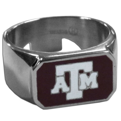 Texas A and M Steel Ring Size 10 - This unique ring is made of 316L stainless steel and features a fully cast and enameled team logo. In addition to the attractive look of this ring it also includes a functional bottle opener feature.  Thank you for shopping with CrazedOutSports.com