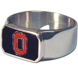 Ohio St. Steel Ring Size 10 - This unique ring is made of 316L stainless steel and features a fully cast and enameled team logo. In addition to the attractive look of this ring it also includes a functional bottle opener feature.  Thank you for shopping with CrazedOutSports.com