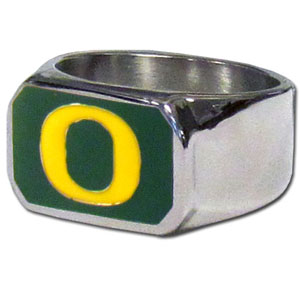Oregon Steel Ring Size 10 - This unique ring is made of 316L stainless steel and features a fully cast and enameled team logo. In addition to the attractive look of this ring it also includes a functional bottle opener feature.  Thank you for shopping with CrazedOutSports.com