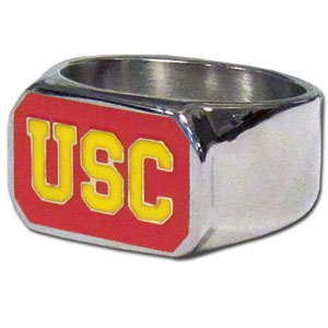 USC Steel Ring Size 10 - This unique ring is made of 316L stainless steel and features a fully cast and enameled team logo. In addition to the attractive look of this ring it also includes a functional bottle opener feature.  Thank you for shopping with CrazedOutSports.com