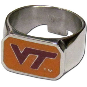 Virginia Tech Steel Ring Size 10 - This unique ring is made of 316L stainless steel and features a fully cast and enameled team logo. In addition to the attractive look of this ring it also includes a functional bottle opener feature.  Thank you for shopping with CrazedOutSports.com