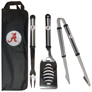 Alabama Crimson Tide BBQ Set w/Bag - Our Alabama Crimson Tide stainless steel 3 pc BBQ tool set includes a large spatula with built in bottle opener, heavy duty tongs, and large fork. All the tools feature a team logo on the handle. The set comes with a durable canvas bag that has a chrome accented team logo.  Thank you for shopping with CrazedOutSports.com