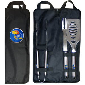 Kansas Jayhawks BBQ Set w/Bag - This Kansas Jayhawks stainless steel 3 pc BBQ tool set with bag includes a large spatula with built in bottle opener, heavy duty tongs, and large fork. All the tools feature a team logo on the handle. The set comes with a durable canvas bag that has a chrome accented team logo.  Thank you for shopping with CrazedOutSports.com