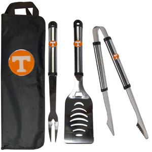 Tennessee BBQ Set w/Bag - Our Tennessee Volunteers stainless steel 3 pc BBQ tool set includes a large spatula with built in bottle opener, heavy duty tongs, and large fork. All the tools feature a team logo on the handle. The set comes with a durable canvas bag that has a chrome accented team logo.  Thank you for shopping with CrazedOutSports.com