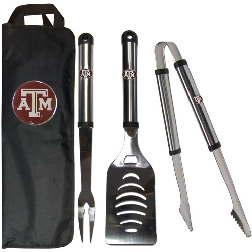 Texas A&M 3pc BBQ Bag - Our Texas A & M Aggies stainless steel 3 pc BBQ tool set includes a large spatula with built in bottle opener, heavy duty tongs, and large fork. All the tools feature a team logo on the handle. The set comes with a durable canvas bag that has a chrome accented team logo.  Thank you for shopping with CrazedOutSports.com