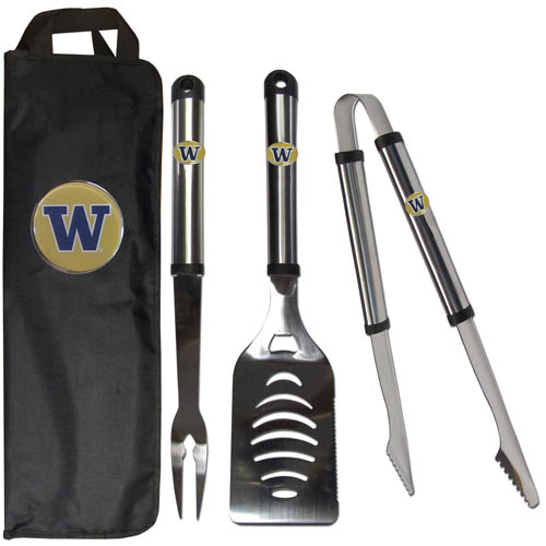 Washington BBQ Set w/Bag - Our Washington Huskies stainless steel 3 pc BBQ tool set includes a large spatula with built in bottle opener, heavy duty tongs, and large fork. All the tools feature a team logo on the handle. The set comes with a durable canvas bag that has a chrome accented team logo.  Thank you for shopping with CrazedOutSports.com