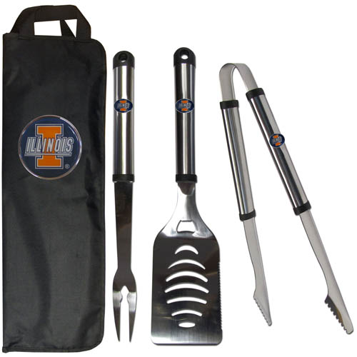 Illinois Fighting Illini BBQ Set w/Bag - This Illinois Fighting Illini stainless steel 3 pc BBQ tool set includes a large spatula with built in bottle opener, heavy duty tongs, and large fork. All the tools feature a team logo on the handle. The set comes with a durable canvas bag that has a chrome accented team logo.  Thank you for shopping with CrazedOutSports.com