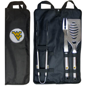 W. Virginia BBQ Set w/Bag - Our W. Virginia Mountaineers stainless steel 3 pc BBQ tool set includes a large spatula with built in bottle opener, heavy duty tongs, and large fork. All the tools feature a team logo on the handle. The set comes with a durable canvas bag that has a chrome accented team logo.  Thank you for shopping with CrazedOutSports.com