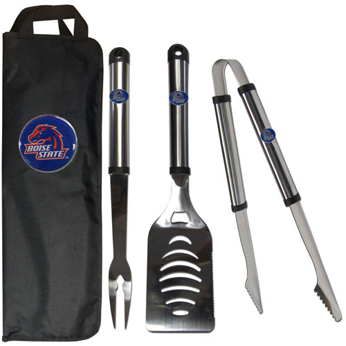 Boise State Broncos BBQ Set w/Bag - Our Boise St. Broncos stainless steel 3 pc BBQ tool set includes a large spatula with built in bottle opener, heavy duty tongs, and large fork. All the tools feature a team logo on the handle. The set comes with a durable canvas bag that has a chrome accented team logo.  Thank you for shopping with CrazedOutSports.com