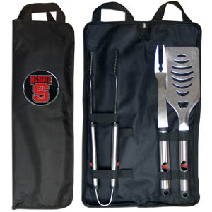 NC St. BBQ Set w/Bag - Our N. Carolina St. Wolfpack stainless steel 3 pc BBQ tool set includes a large spatula with built in bottle opener, heavy duty tongs, and large fork. All the tools feature a team logo on the handle. The set comes with a durable canvas bag that has a chrome accented team logo.  Thank you for shopping with CrazedOutSports.com