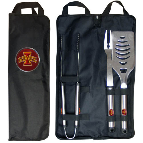 Iowa St. Cyclones BBQ Set w/Bag - Our Iowa St. Cyclones stainless steel 3 pc BBQ tool set includes a large spatula with built in bottle opener, heavy duty tongs, and large fork. All the tools feature a team logo on the handle. The set comes with a durable canvas bag that has a chrome accented team logo.  Thank you for shopping with CrazedOutSports.com