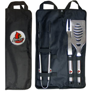 Louisville BBQ Set w/Bag - Our Louisville Cardinals stainless steel 3 pc BBQ tool set includes a large spatula with built in bottle opener, heavy duty tongs, and large fork. All the tools feature a team logo on the handle. The set comes with a durable canvas bag that has a chrome accented team logo.  Thank you for shopping with CrazedOutSports.com