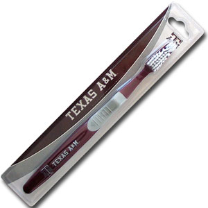 College Team Toothbrush - Texas AandM Aggies - A great way to show off your team spirit! Our College Licensed toothbrushes have opposing angled bristles to reach between teeth with each forward and backward stroke. The extended tip accesses hard-to-reach areas of the mouth. Thank you for shopping with CrazedOutSports.com