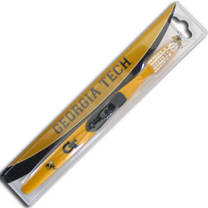 College Team Toothbrush - Georgia Tech Yellow Jackets - A great way to show off your team spirit! Our College Licensed toothbrushes have opposing angled bristles to reach between teeth with each forward and backward stroke. The extended tip accesses hard-to-reach areas of the mouth. Thank you for shopping with CrazedOutSports.com