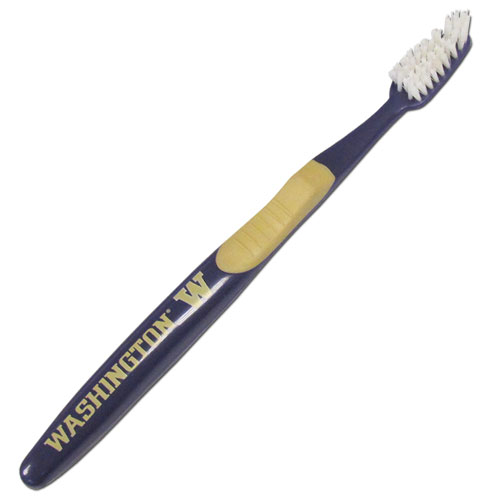 College Team Toothbrush - Washington Huskies - A great way to show off your team spirit! Our College Licensed toothbrushes have opposing angled bristles to reach between teeth with each forward and backward stroke. The extended tip accesses hard-to-reach areas of the mouth. Thank you for shopping with CrazedOutSports.com