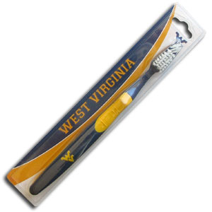 College Team Toothbrush - West Virginia Mountaineers - A great way to show off your team spirit! Our College Licensed toothbrushes have opposing angled bristles to reach between teeth with each forward and backward stroke. The extended tip accesses hard-to-reach areas of the mouth. Thank you for shopping with CrazedOutSports.com