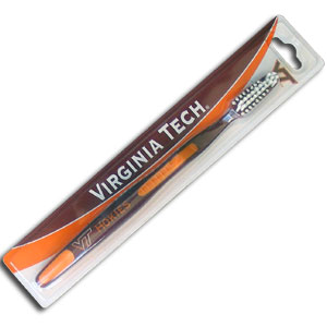 College Team Toothbrush - Virginia Tech Hokies - A great way to show off your team spirit! Our College Licensed toothbrushes have opposing angled bristles to reach between teeth with each forward and backward stroke. The extended tip accesses hard-to-reach areas of the mouth. Thank you for shopping with CrazedOutSports.com