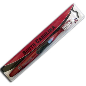 College Team Toothbrush - South Carolina Gamecocks - A great way to show off your team spirit! Our College Licensed toothbrushes have opposing angled bristles to reach between teeth with each forward and backward stroke. The extended tip accesses hard-to-reach areas of the mouth. Thank you for shopping with CrazedOutSports.com