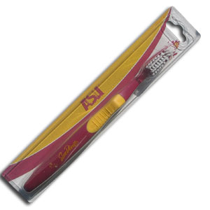College Team Toothbrush - Arizona State Sun Devils - A great way to show off your team spirit! Our College Licensed toothbrushes have opposing angled bristles to reach between teeth with each forward and backward stroke. The extended tip accesses hard-to-reach areas of the mouth. Thank you for shopping with CrazedOutSports.com