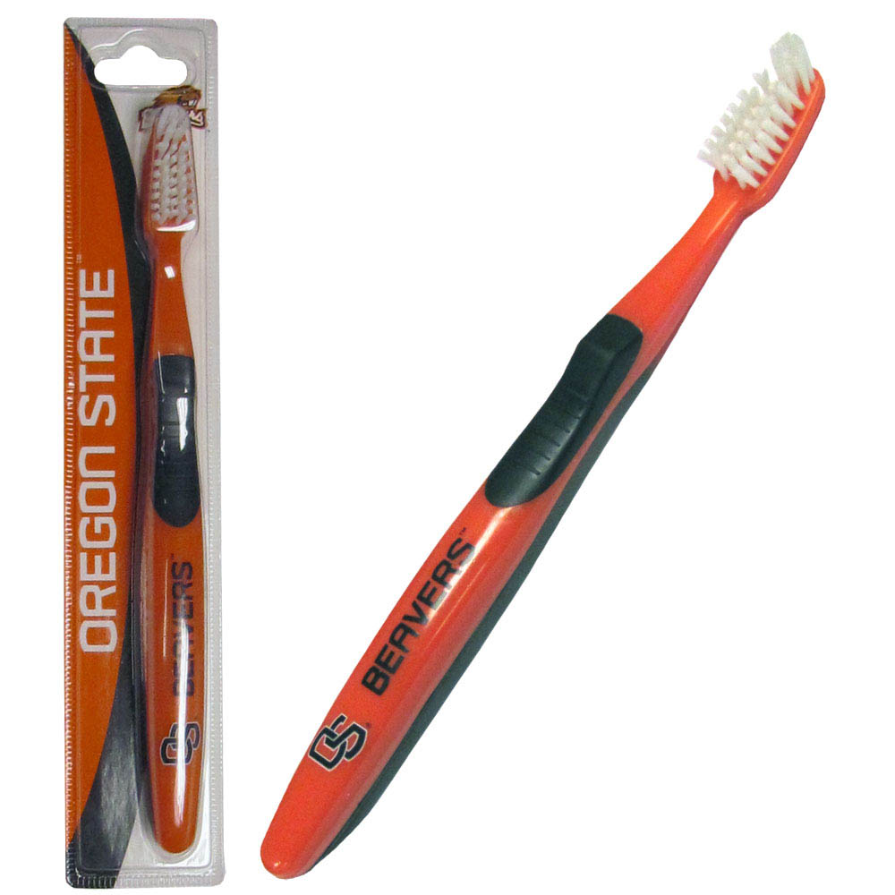 Oregon St. Beavers Toothbrush - A great way to show off your team spirit! Our licensed toothbrushes have opposing angled bristles to reach between teeth with each forward and backward stroke. The extended tip accesses hard-to-reach areas of the mouth. Cool Oregon St. Beavers graphics and colors.