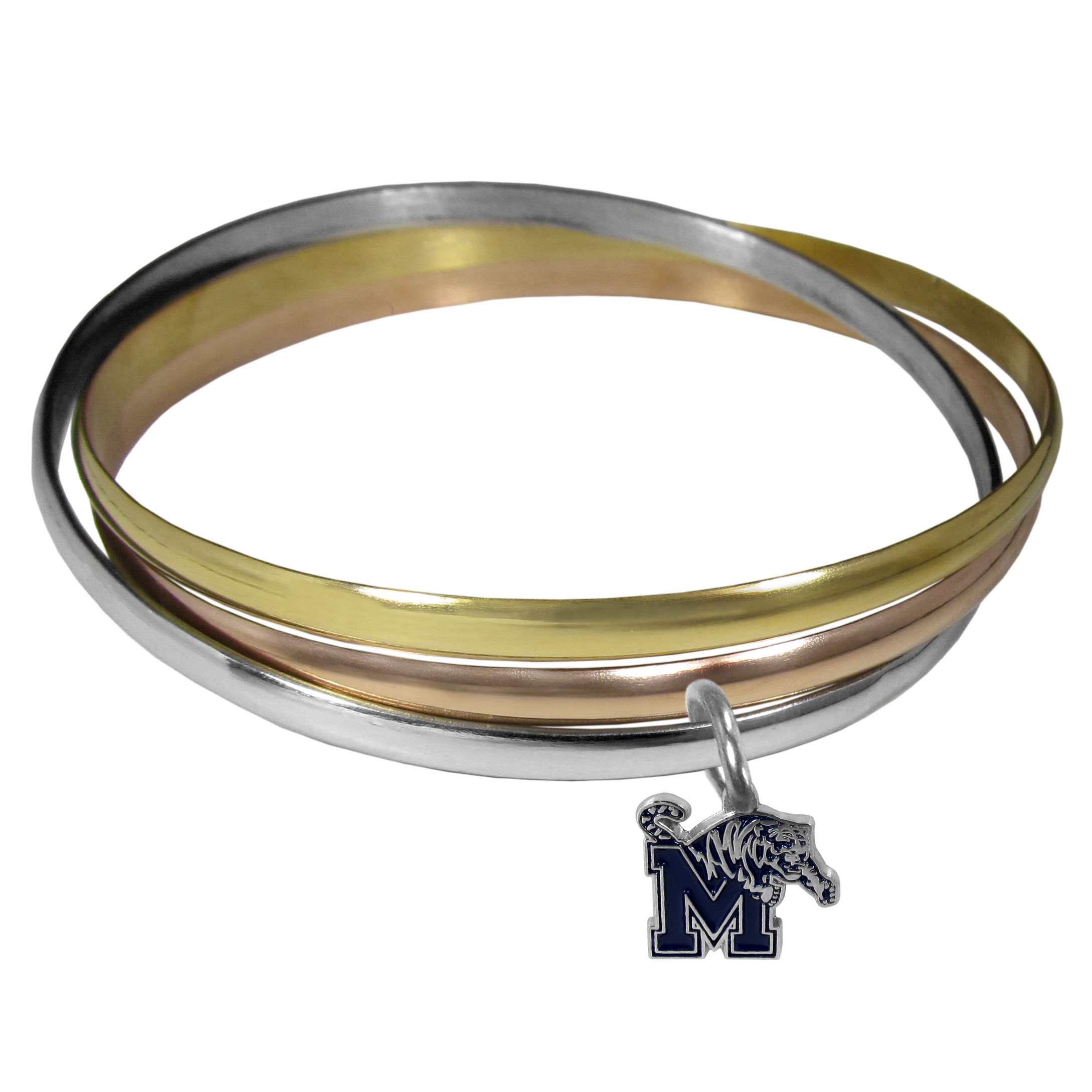 Memphis Tigers Tri-color Bangle Bracelet - These beautiful bangles come in a interlocking style and feature a fully cast Memphis Tigers charm with enameled team colors. The bracelet has a silver toned bangle, gold tone bangle and brass toned bangle.