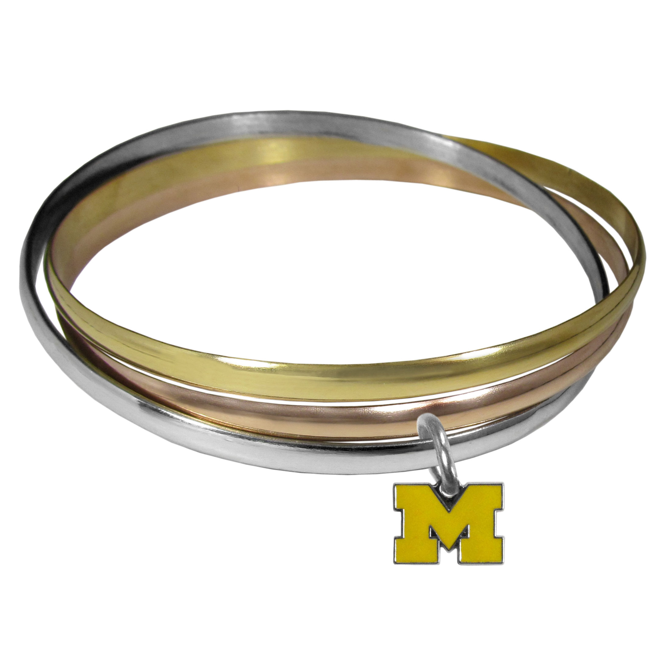 Michigan Wolverines Tri-color Bangle Bracelet - These beautiful bangles come in a interlocking style and feature a fully cast Michigan Wolverines charm with enameled team colors. The bracelet has a silver toned bangle, gold tone bangle and brass toned bangle.