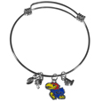 Kansas Jayhawks Charm Bangle Bracelet - Adjustable wire bracelets are all the rage and this Kansas Jayhawks Charm bracelet matches the popular trend with your beloved team. The Kansas Jayhawks Charm Bangle bracelet features 4 charms in total, each feature exceptional detail and the team charm has enameled team colors.