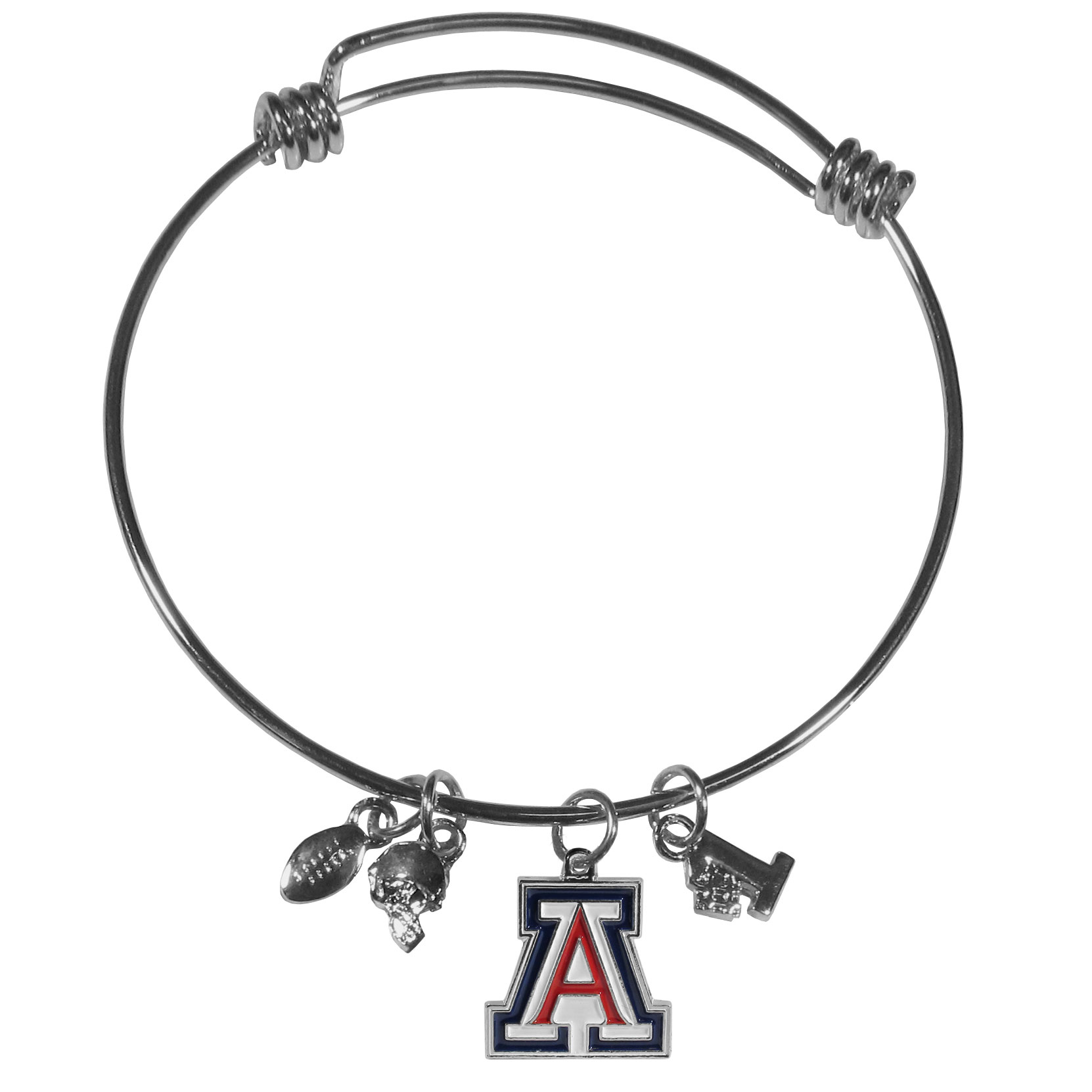 Arizona Wildcats Charm Bangle Bracelet - Ladies, just because you're a sports fan does not mean you have to give up on your trendy, fashion jewelry. This bangle bracelet is a perfect statement piece that is a stylish blend of designer inspired fashion and your love of your team. The popular style of adjustable wire bracelet has a contemporary look and comes with 3 sassy football inspired charms and 1, beautifully detailed team charm. Be a trendsetter with this Arizona Wildcats must-have fashion bracelet that is eye-catching enough for game-day but chic enough for everyday.
