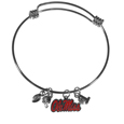 Mississippi Rebels Charm Bangle Bracelet - Adjustable wire bracelets are all the rage and this Mississippi Rebels bracelet matches the popular trend with your beloved team. The bracelet features 4 charms in total, each feature exceptional detail and the team charm has enameled team colors.