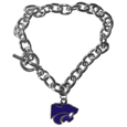 Kansas St. Wildcats Charm Chain Bracelet - This classic single Kansas St. Wildcats charm bracelet is a great way to show off your team pride! The 7.5 inch large link chain features a high polish Kansas St. Wildcats charm and features a toggle clasp which makes it super easy to take on and off.  Thank you for shopping with CrazedOutSports.com