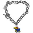 Kansas Jayhawks Charm Chain Bracelet - This classic single Kansas Jayhawks charm bracelet is a great way to show off your team pride! The 7.5 inch large link chain features a high polish Kansas Jayhawks charm and features a toggle clasp which makes it super easy to take on and off.  Thank you for shopping with CrazedOutSports.com